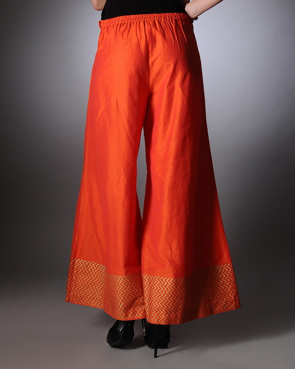 Orange block printed palazzo pants 2