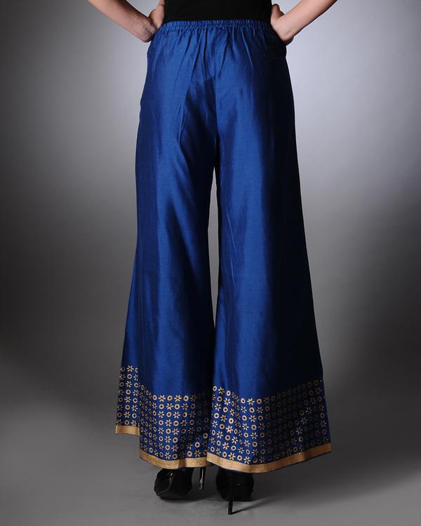 Blue block printed palazzo pants 2