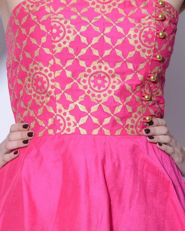 Pink foil printed dress 2