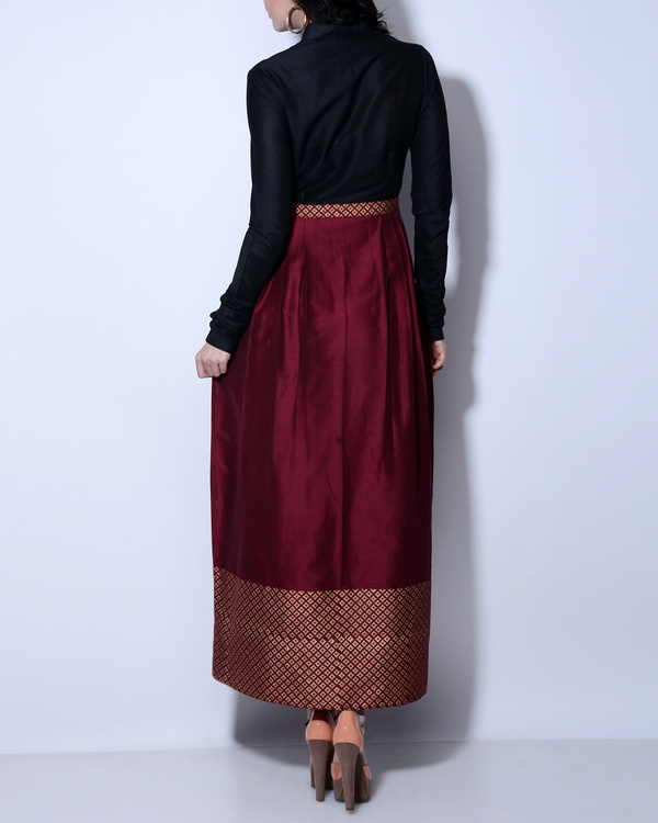 Maroon and black maxi dress 1