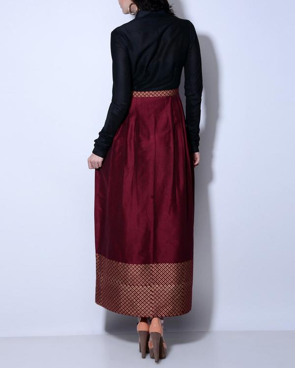 Maroon and black maxi dress 1