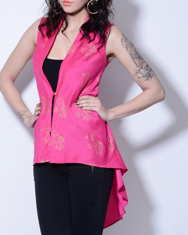 Pink elephant foil printed jacket 1