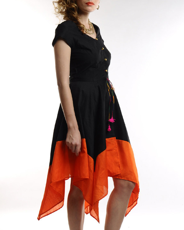 Black dress with asymmetric hemline 1