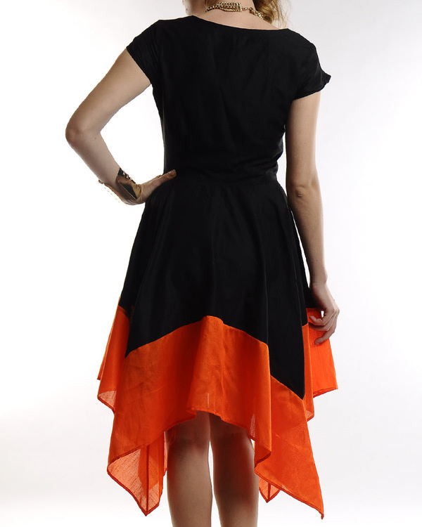 Black dress with asymmetric hemline 2