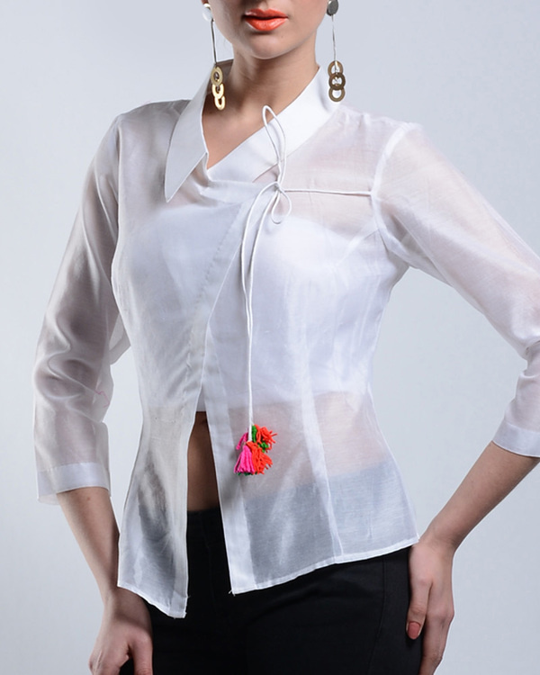 Asymmetrical white chanderi top 1