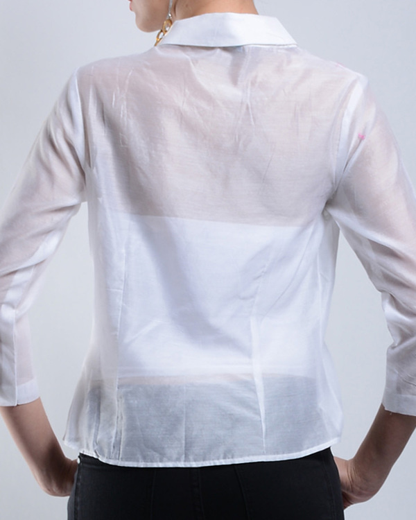 Asymmetrical white chanderi top 2