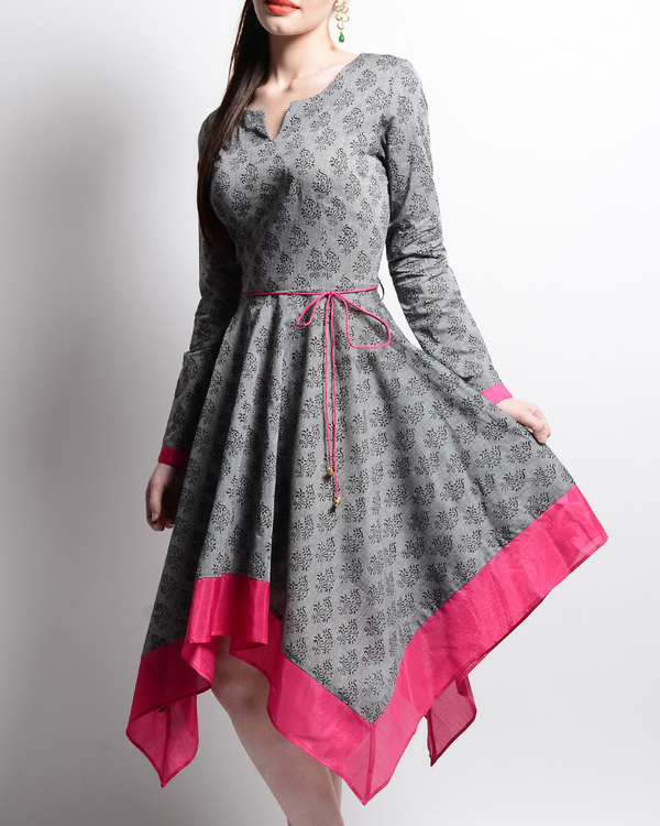 Grey and pink mangalgiri tunic 1