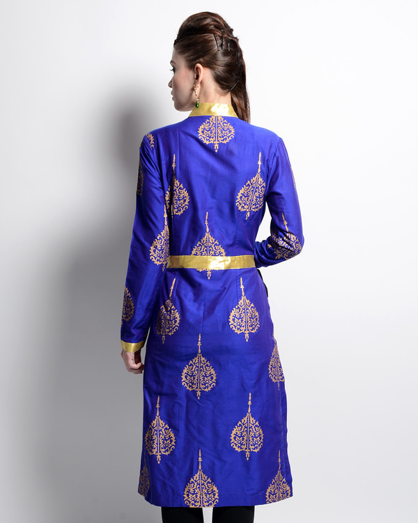 Blue and golden printed tunic 1