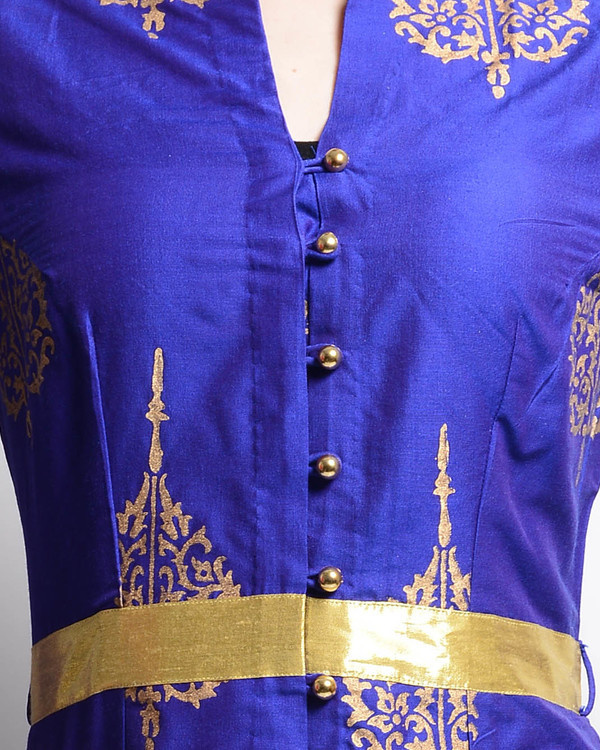 Blue and golden printed tunic 2