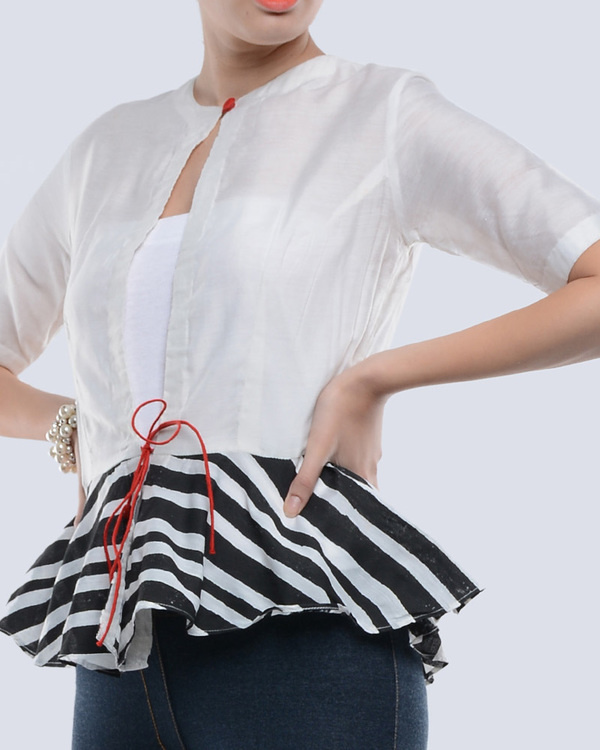 Black and white chanderi top 1