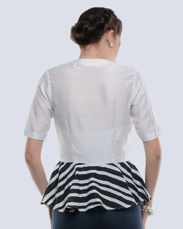Black and white chanderi top 2