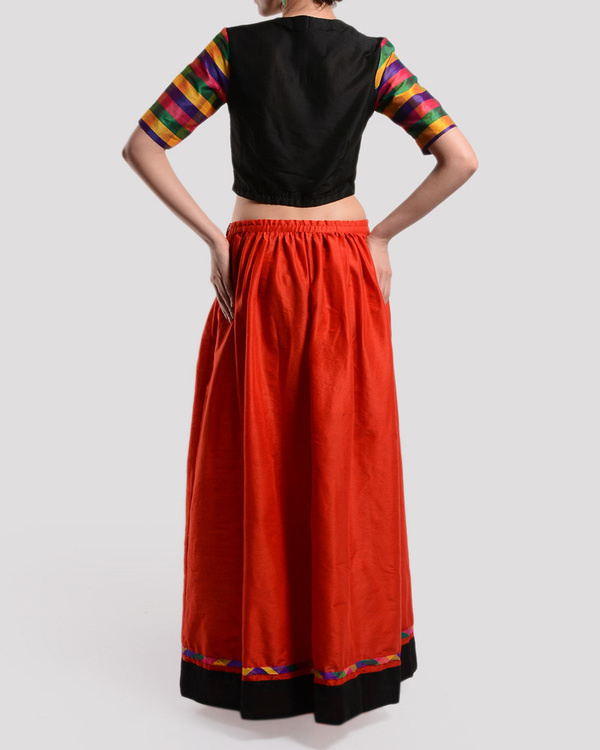Red and black crop top with gathered skirt 1