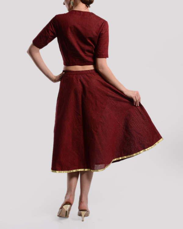 Maroon crop top and skirt set 1