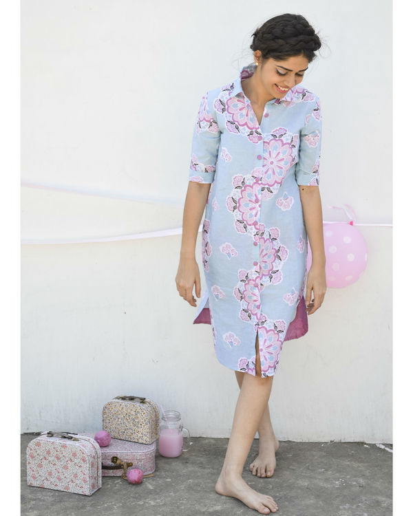 Pastel blue shirt dress 1