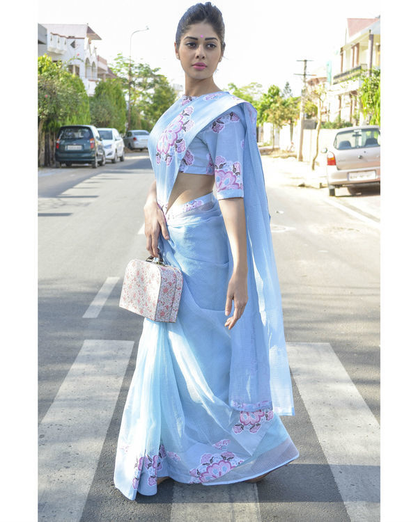 Pastel blue single border sari 1