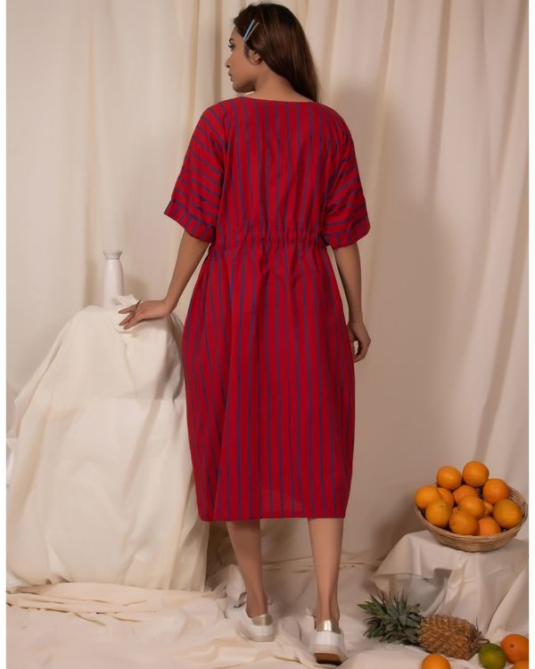 Red striped tie-up dress 3