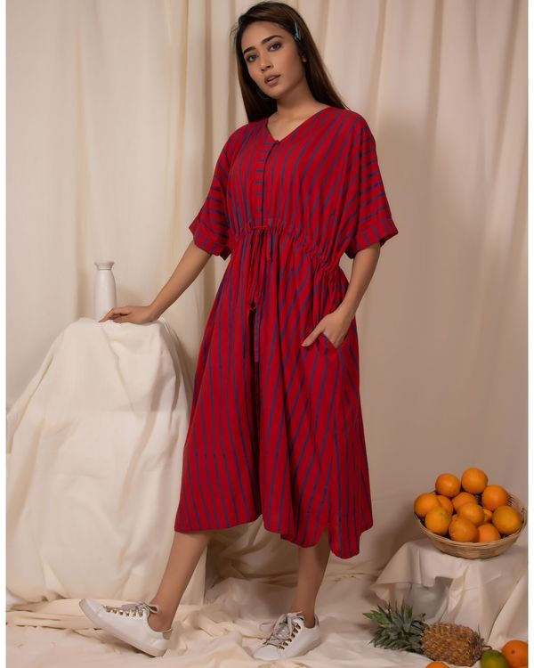 Red striped tie-up dress 2
