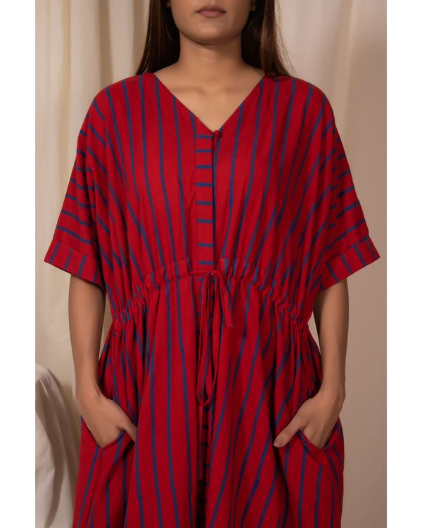 Red striped tie-up dress 1