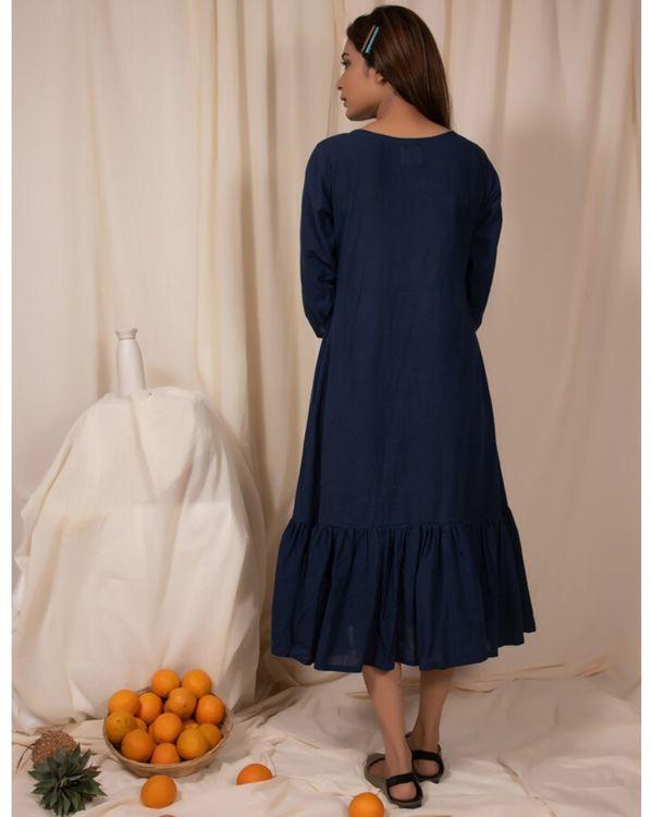 Indigo paneled ruffle dress 2