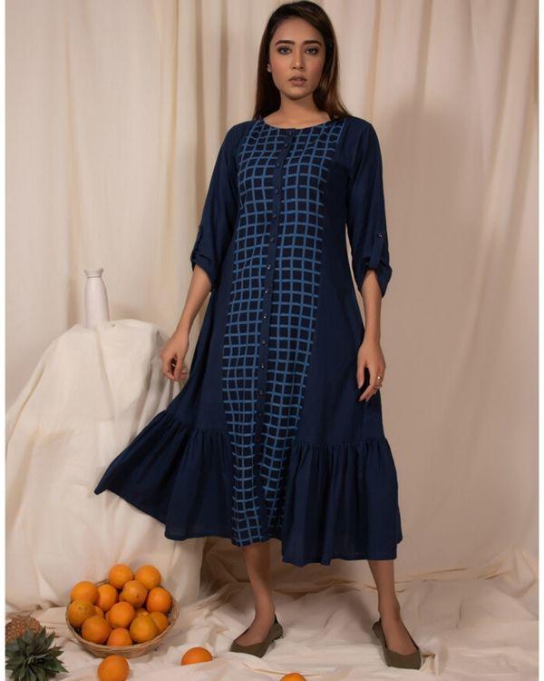 Indigo paneled ruffle dress 1