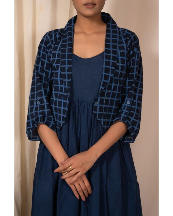 Indigo checkered jacket and dress- Set Of Two 1