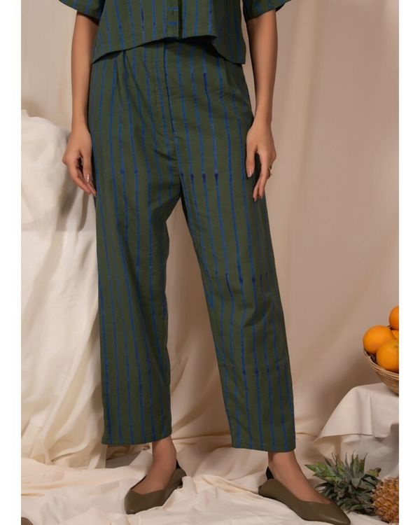 Dark green striped shirt and pants- Set Of Two 2