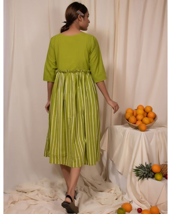 Lime green paneled dress 3