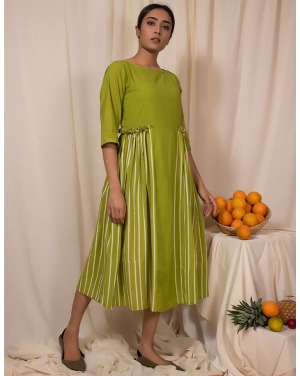 Lime green paneled dress 2