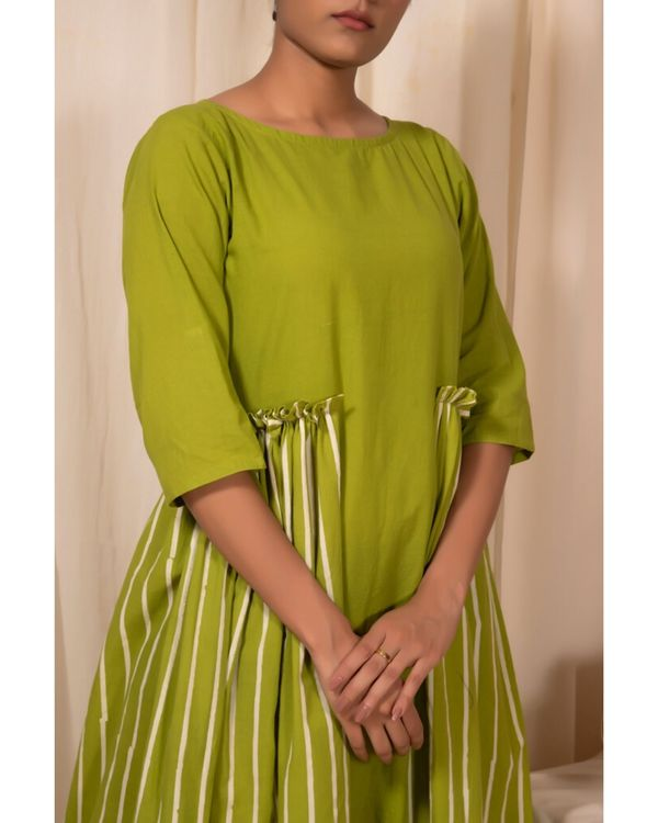 Lime green paneled dress 1