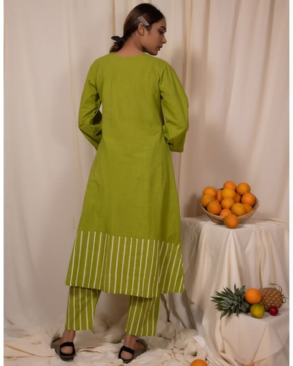 Lime green striped button down kurta 3