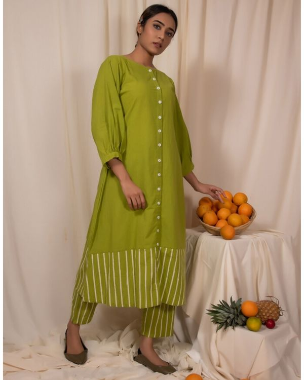 Lime green striped button down kurta 2