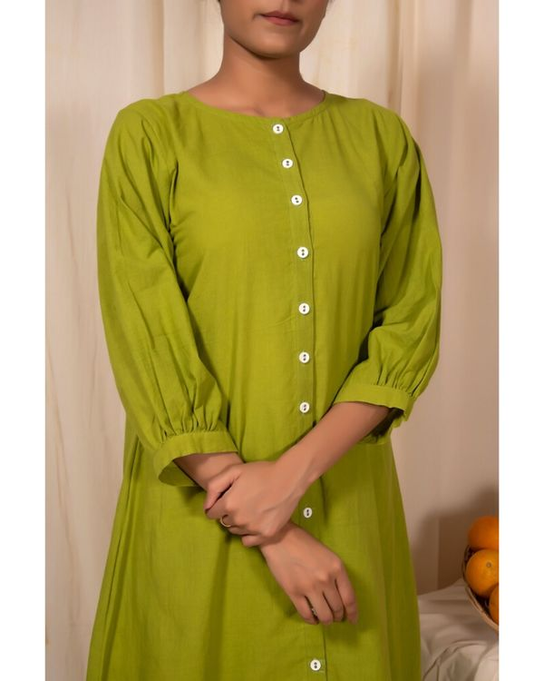 Lime green striped button down kurta 1
