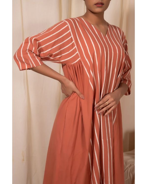 Peach striped baggy kurta 1