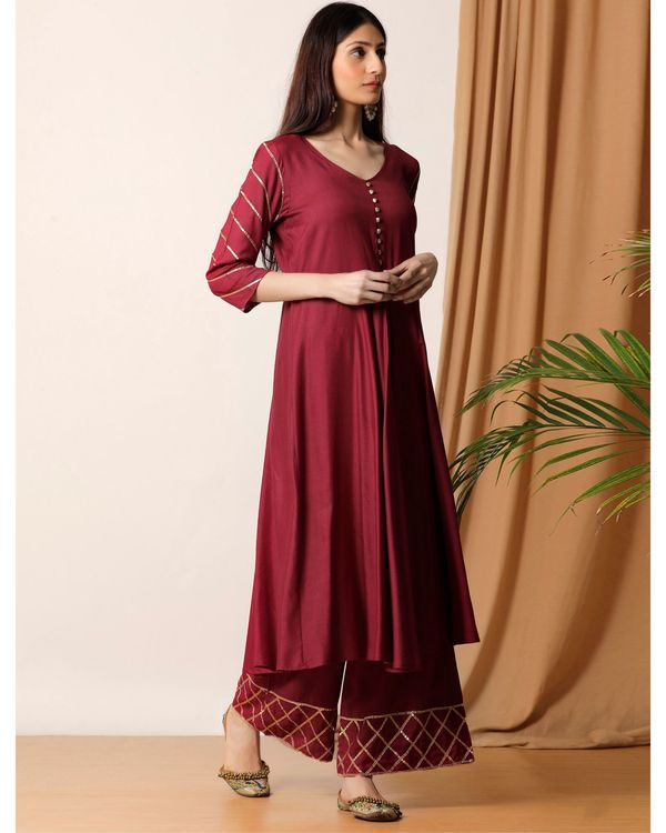 Maroon gota kurta and palazzo- Set Of Two 2