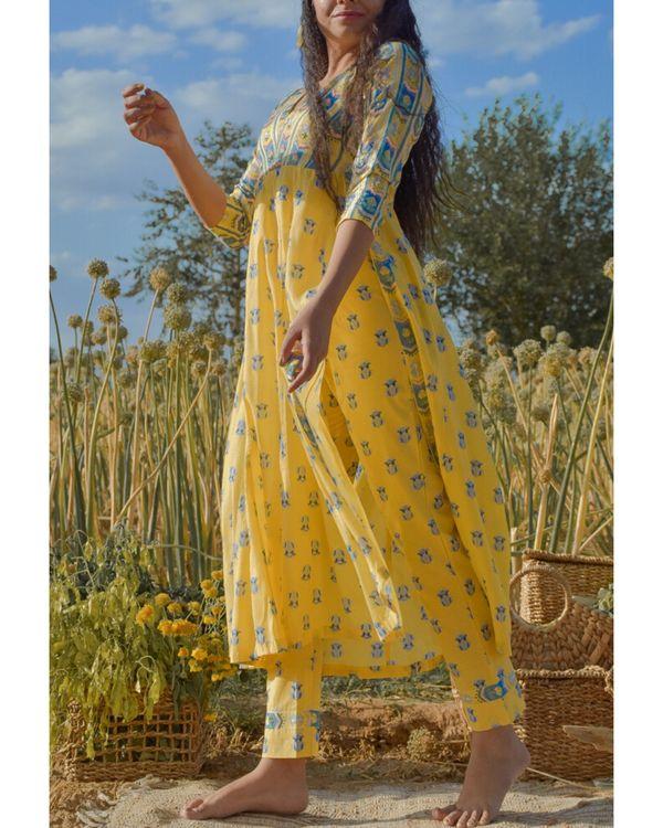 Yellow floral printed yoke kurta 2