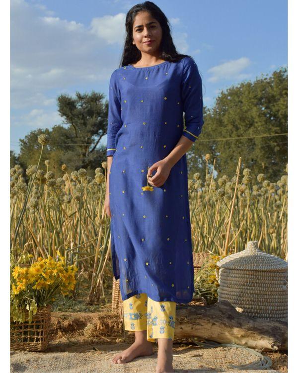 Blue and yellow embroidered kurta 2