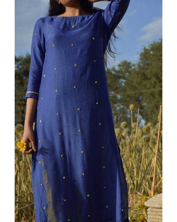 Blue and yellow embroidered kurta 1