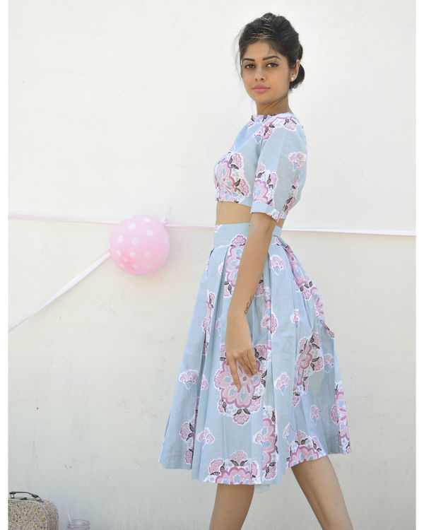 Blue high waisted skirt 1