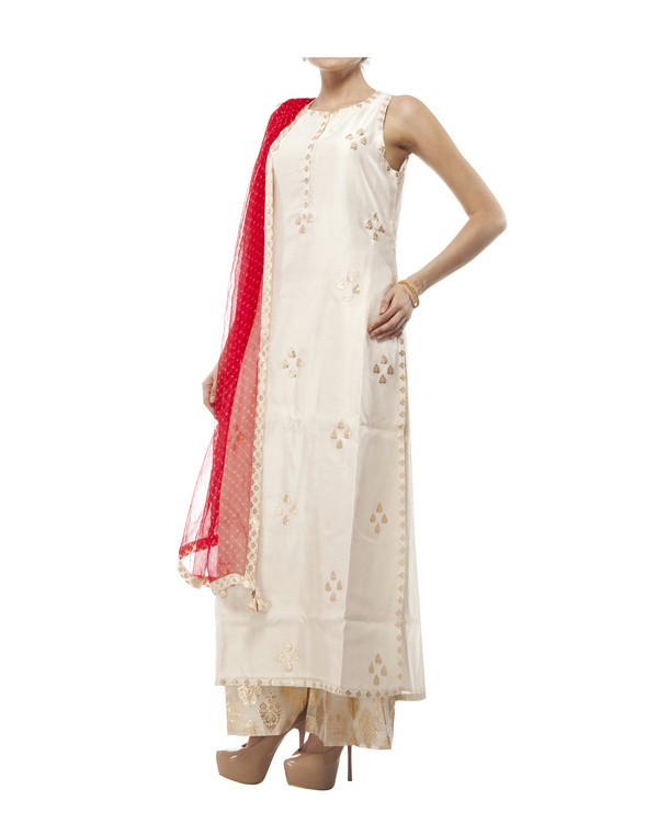 Ivory Chanderi straight kurta set 2