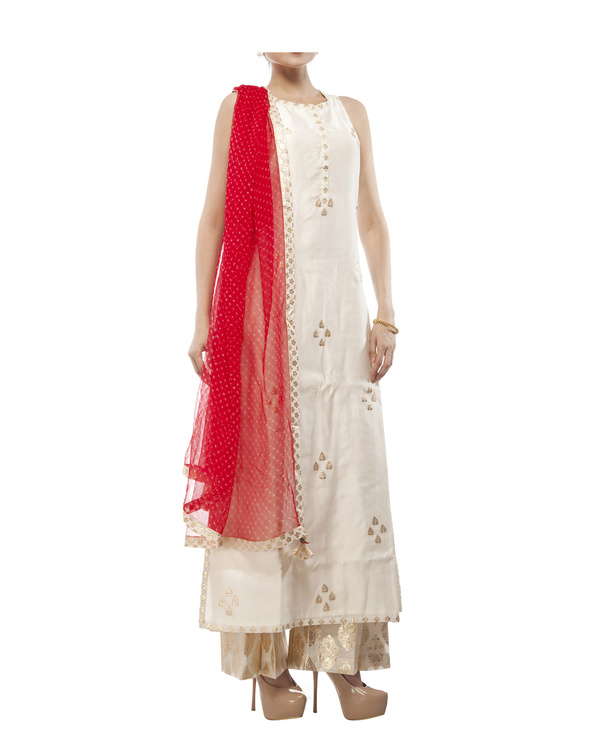 Ivory Chanderi straight kurta set 3