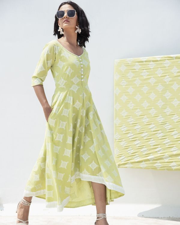Green zari printed high low dress 2