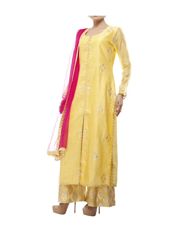 Yellow Chanderi kurta set 2