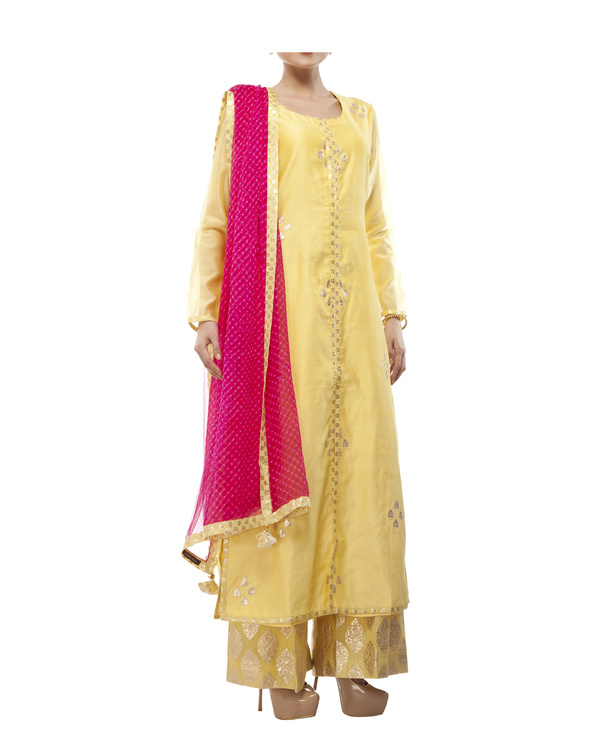 Yellow Chanderi kurta set 3