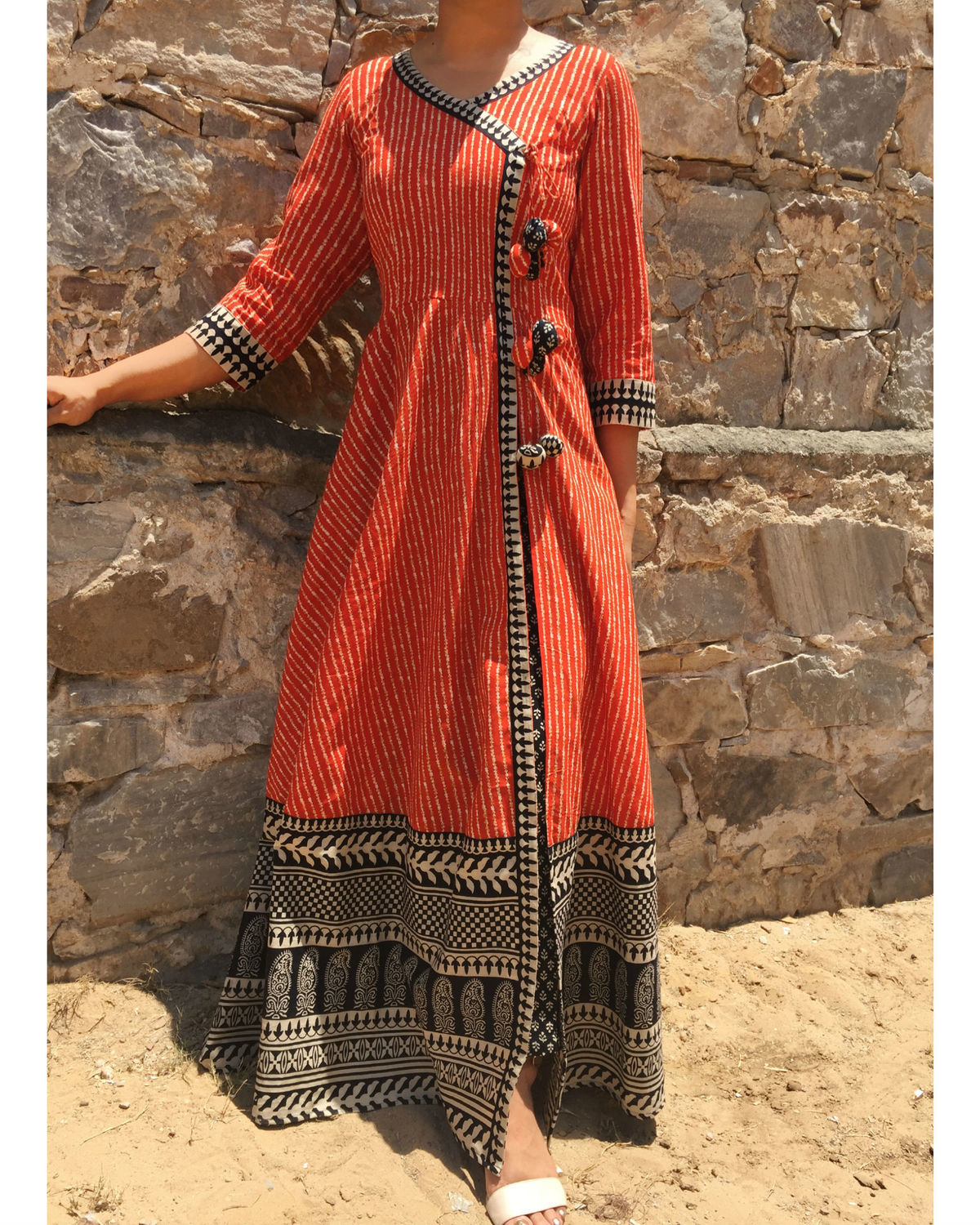 Angrakha cape with printed pants by the home affair the for Design a cape