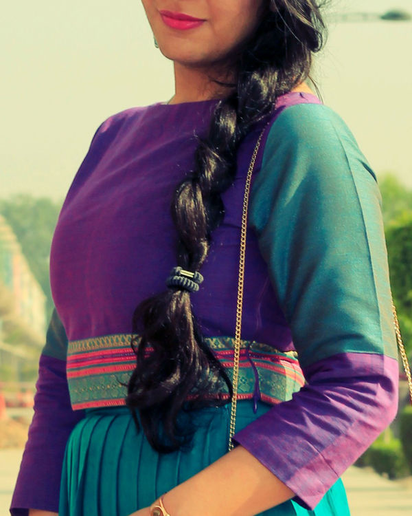 Purple and turquoise top with pleated skirt set 1