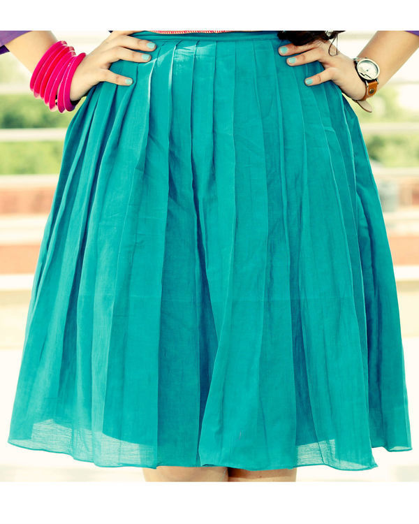 Purple and turquoise top with pleated skirt set 2