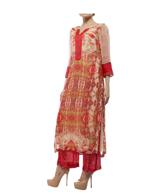 Kantha yoke with printed kurta and printed palazzo 1
