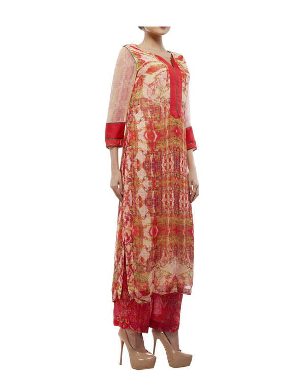 Kantha yoke with printed kurta and printed palazzo 2
