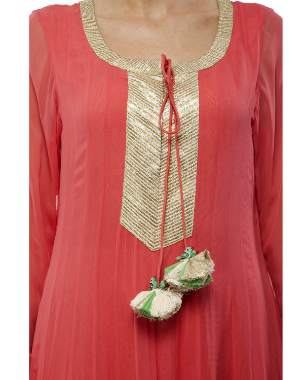 Coral Viscose georgette anarkali set 1