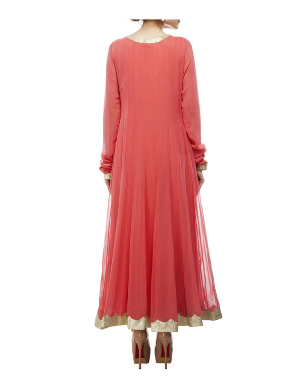 Coral Viscose georgette anarkali set 2